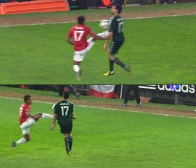 Nani Red Card Tackle on Madrid's Alvaro Arbeloa