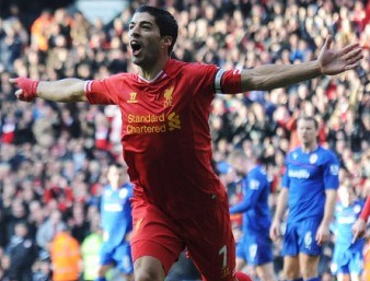 Suarez Third Goal vs Cardiff
