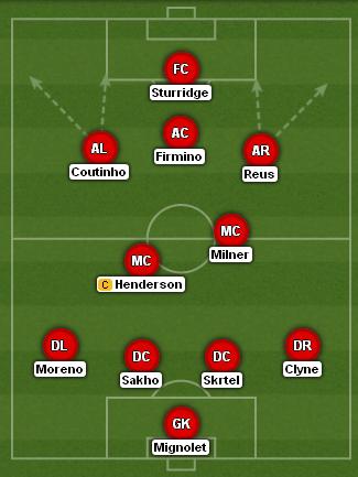 Marcos Reus Liverpool XI