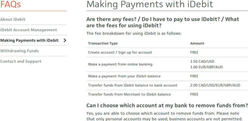 iDebit fees