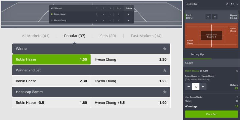 tennis inplay bet